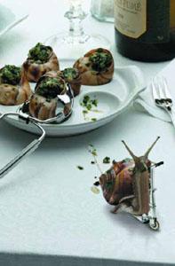 Photo-montage humouristique représentant un escargot quittant une assiette en trotinette.
